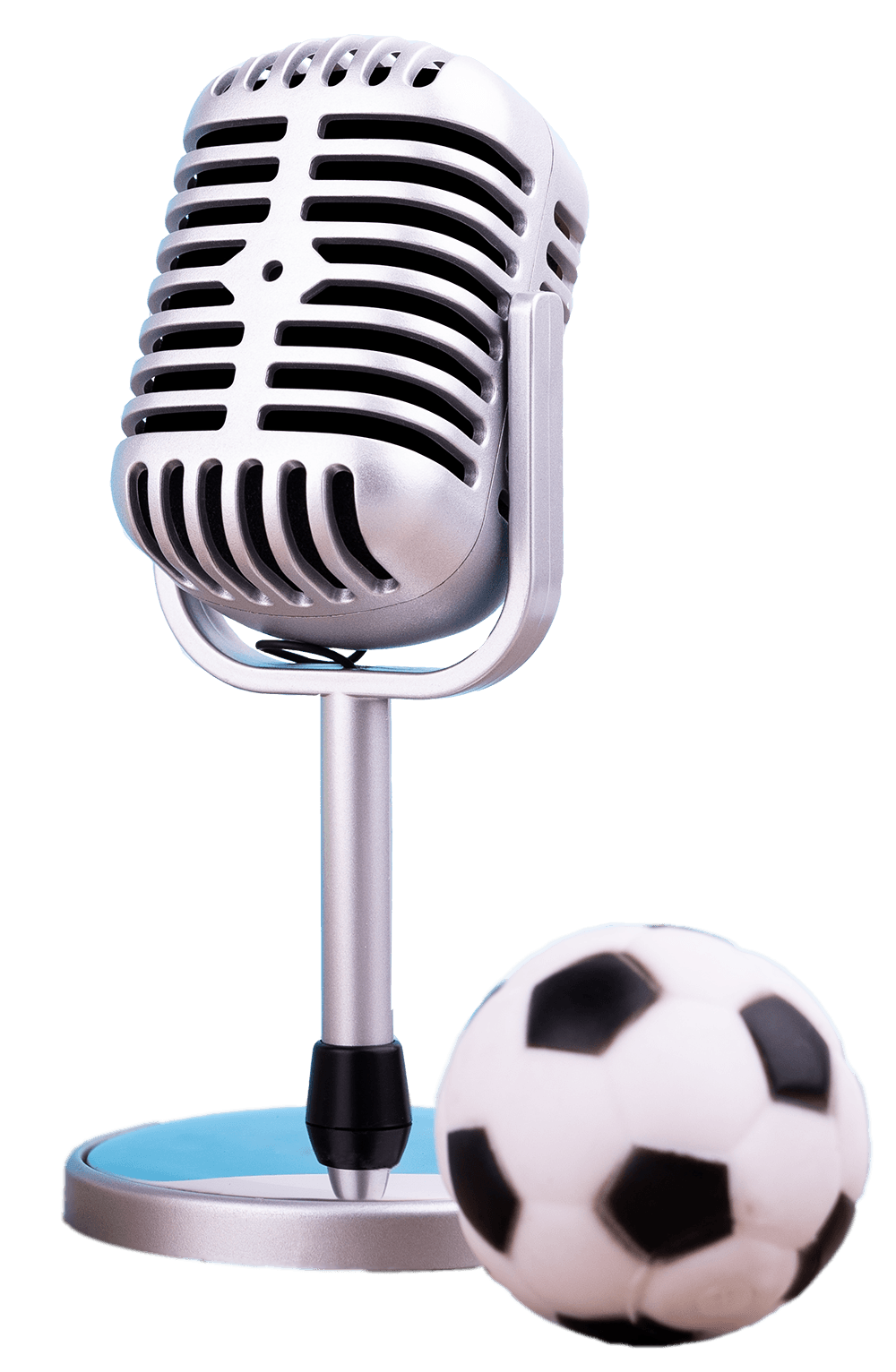 Microphone with a small football next to it